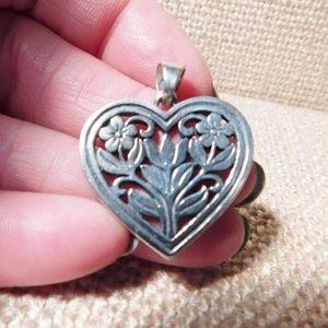 James Avery RETIRED Sterling Flowers Heart Pendant